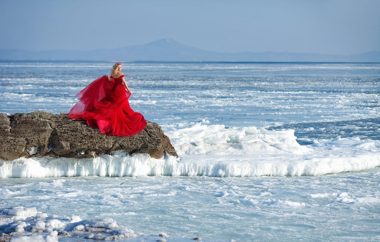 Photo wallpaper winter, girl, mood, ice, red dress, Ivga Photographer