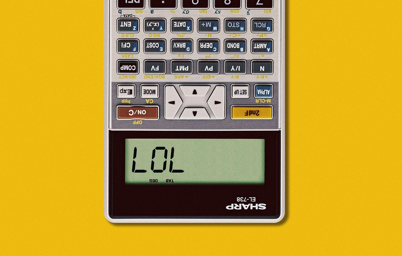 Photo wallpaper Art, Wallpaper, Yellow, Minimalism, Humor, Calculator, Matt Chase, SHARP EL-738