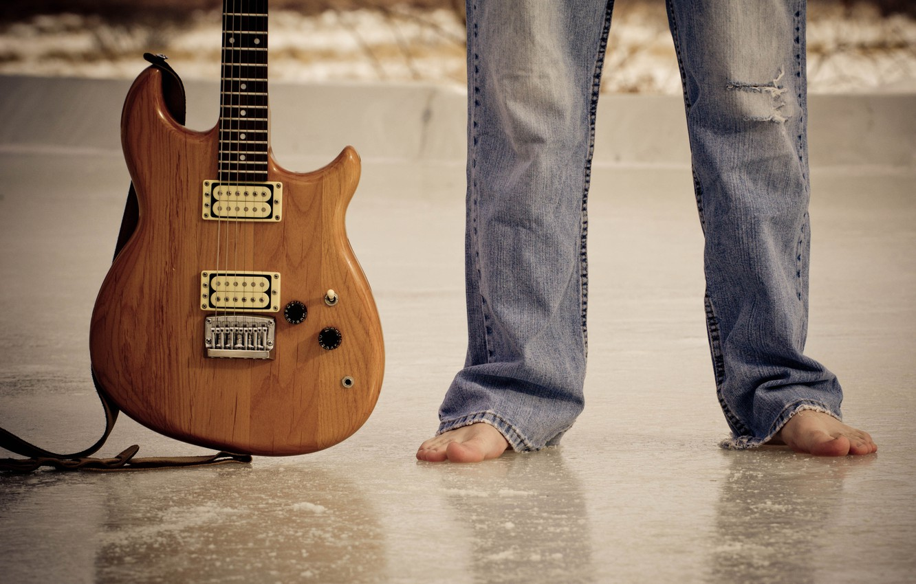 Photo wallpaper music, feet, guitar