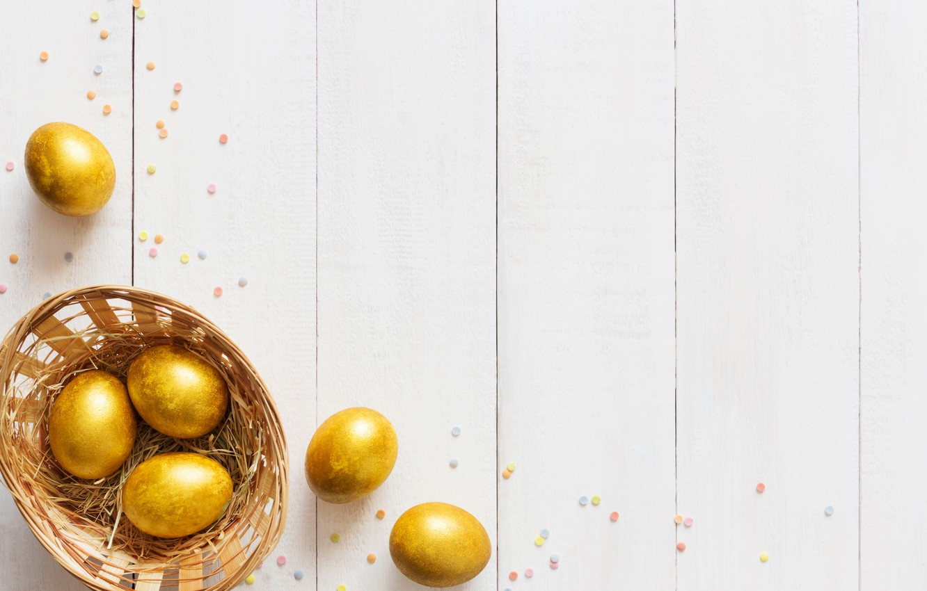Photo wallpaper gold, holiday, basket, eggs, Easter