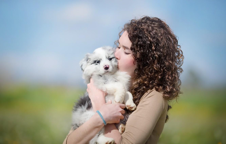 Photo wallpaper girl, mood, dog, puppy