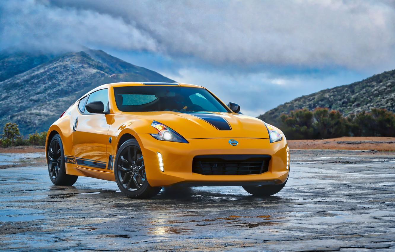 Photo wallpaper car, logo, Nissan, yellow, Nissan 370Z Heritage Edition