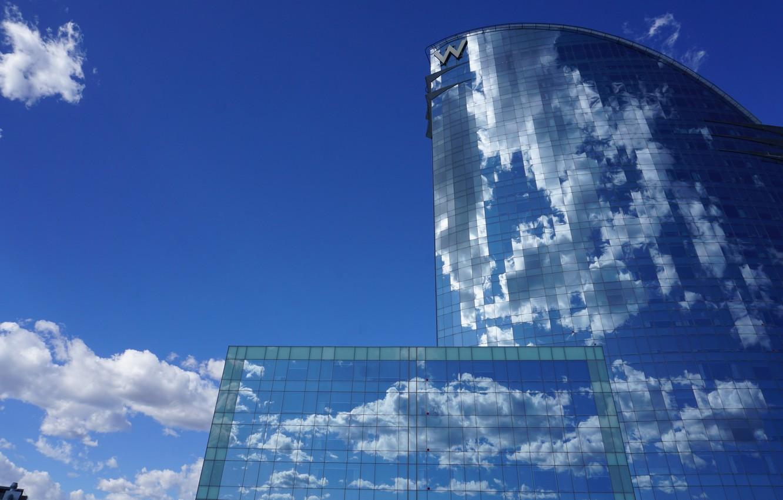 Photo wallpaper the sky, clouds, reflection, the building, Spain, Barcelona, Barcelona, Spain, W Barcelona Hotel