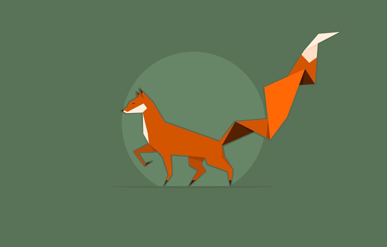 Photo wallpaper background, green, round, red, Fox, Fox, origami, orange, tail origami