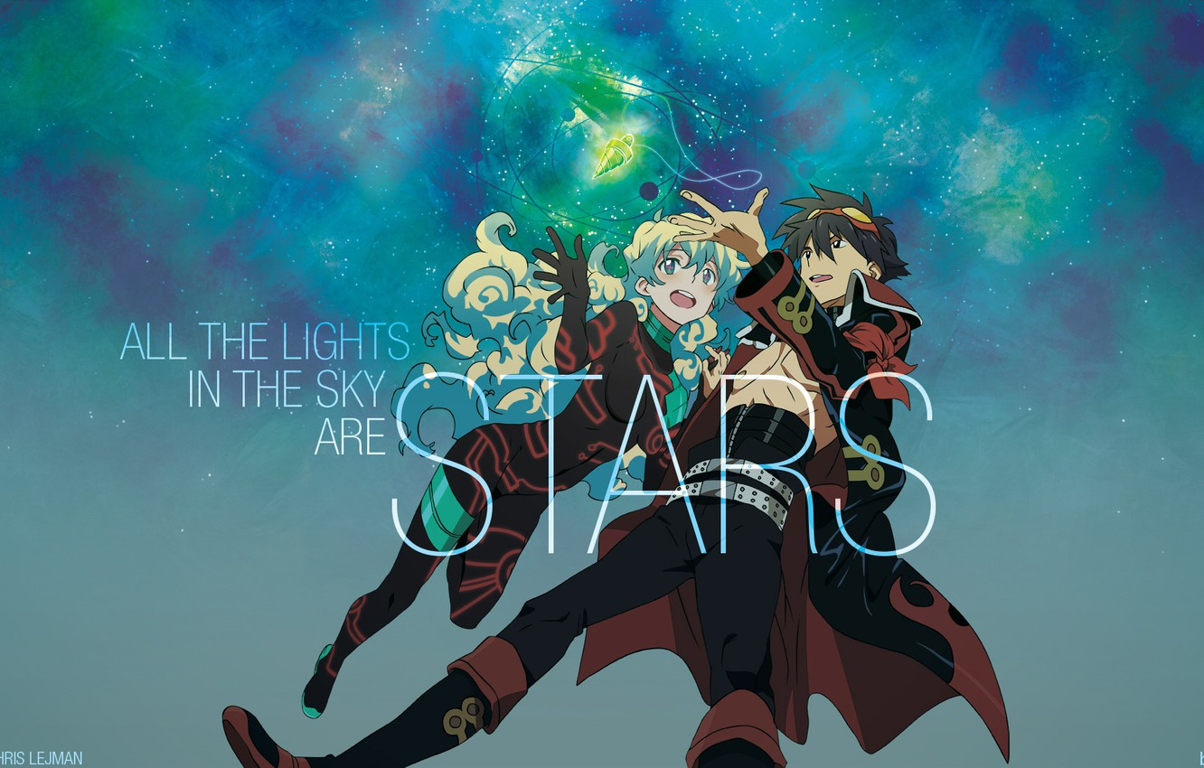 Photo wallpaper anime, art, pair, two, Distributed By Mattel And Nintendo Violence Gurren-Lagann