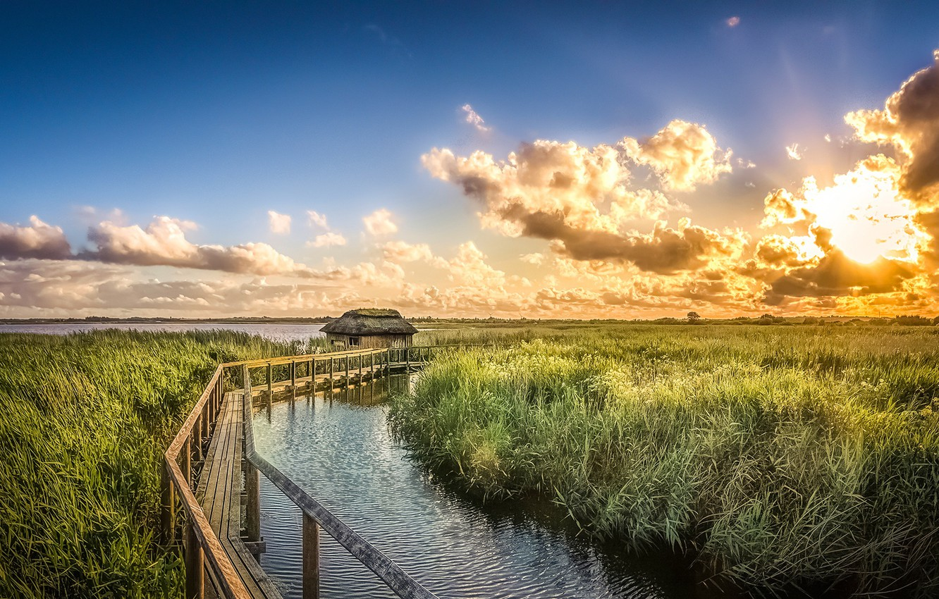 Photo wallpaper the sky, the sun, clouds, sunset, river, the reeds, Denmark, house, bridges