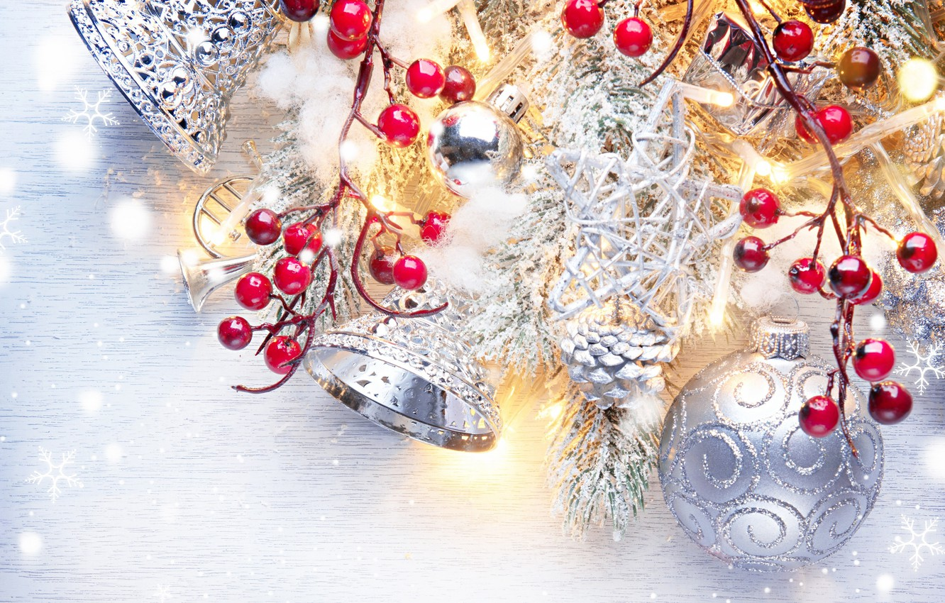 Photo wallpaper berries, holiday, balls, toys, new year, beads, bells, fir-tree branches