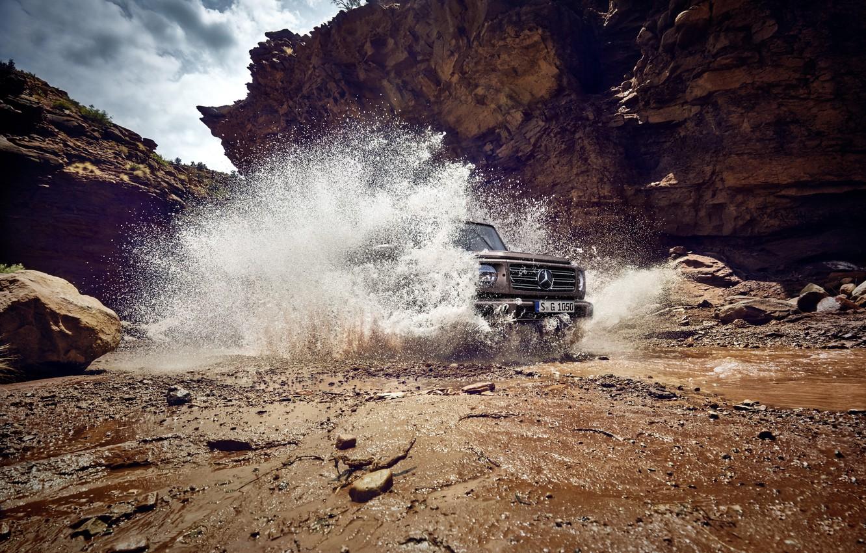 Photo wallpaper water, squirt, stones, rocks, Mercedes-Benz, speed, dirt, gorge, 2018, G-Class