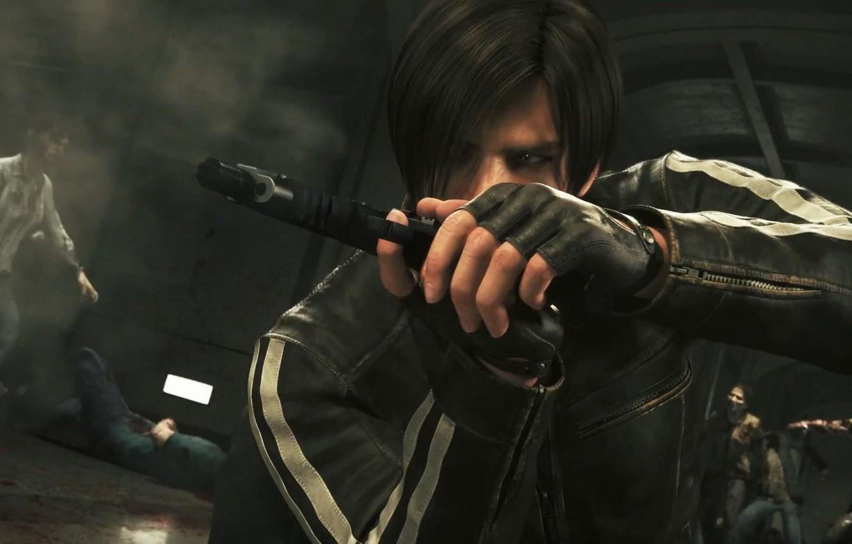 Photo wallpaper zombie, gun, blood, pistol, undead, weapon, Resident Evil, man, survivor, fight, blonde, hero, agent, Leon, …