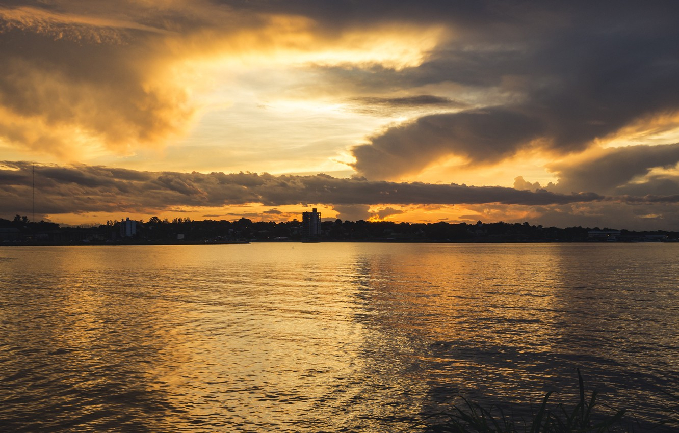 Photo wallpaper sunset, river, Argentina, the province of Misiones, Posadas