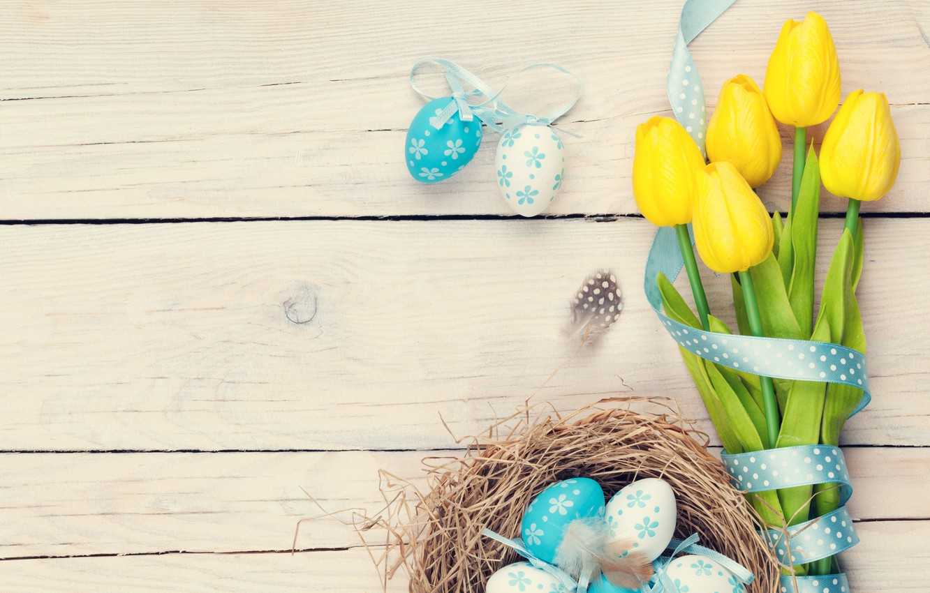 Photo wallpaper colorful, Easter, tulips, tulips, spring, eggs, Happy Easter, Easter eggs