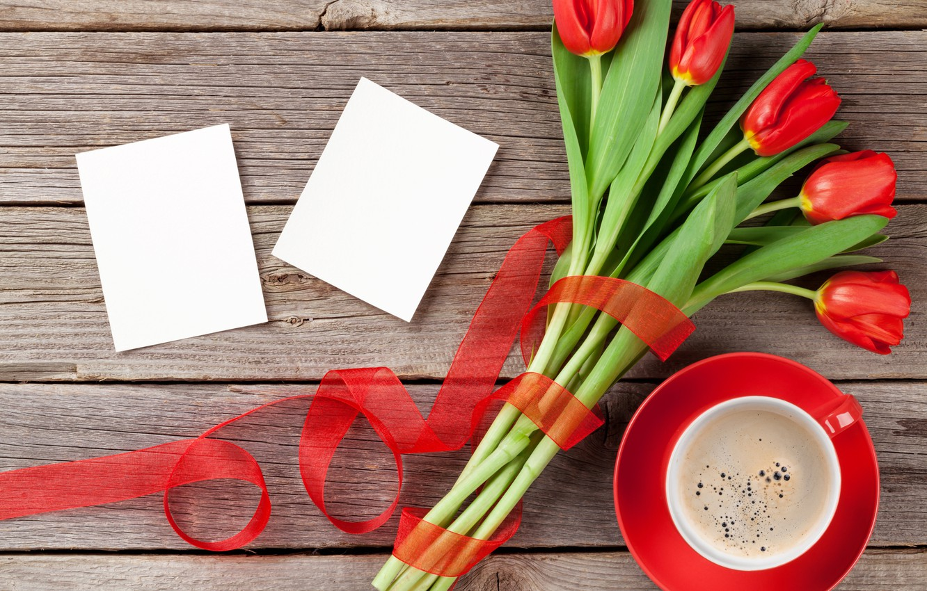 Photo wallpaper love, flowers, coffee, bouquet, Cup, hearts, tulips, red, love, wood, flowers, cup, romantic, hearts, tulips, …