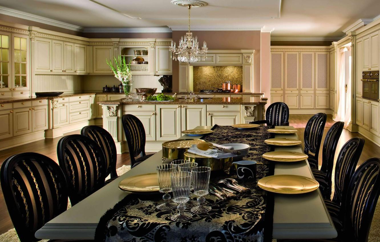 Photo wallpaper style, Villa, interior, kitchen, dining room