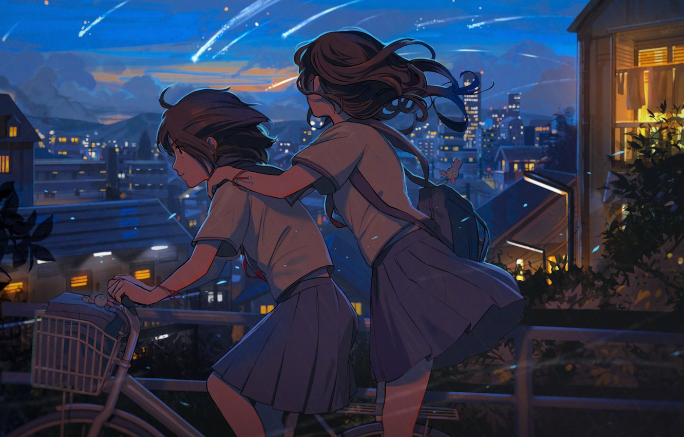 Photo wallpaper the sky, bike, the city, two, home, the evening, Japan, Schoolgirls, friend, trip, the light …