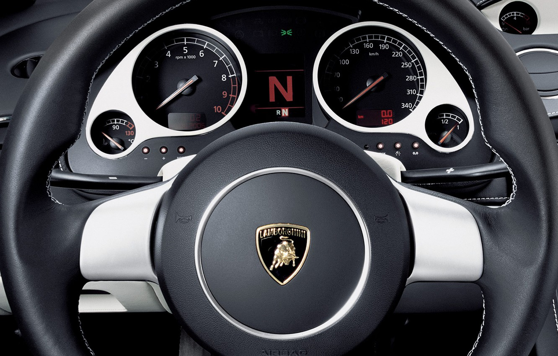 Photo wallpaper Lamborghini, the wheel, Gallardo, dashboard