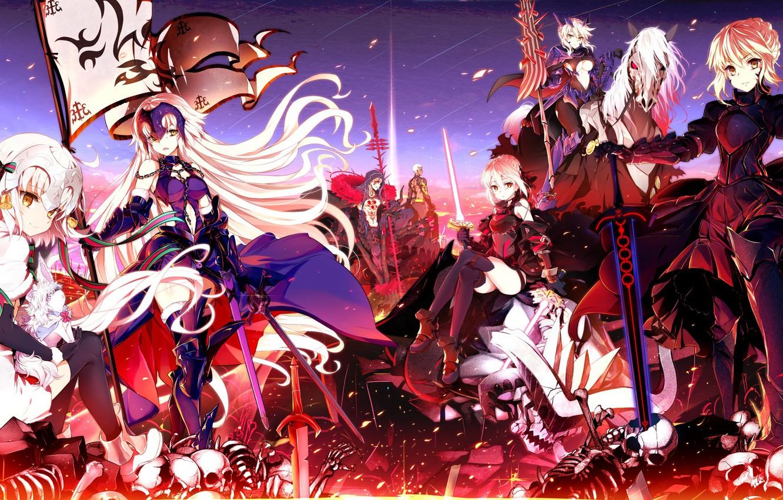 Photo wallpaper the sky, clouds, smile, weapons, girls, sword, anime, art, bones, skull, guy, saber, saber age, …