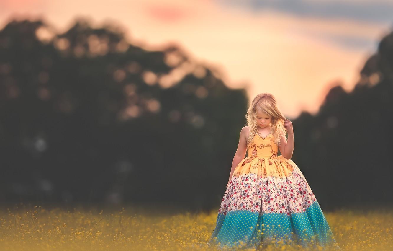 Photo wallpaper flowers, mood, dress, meadow, girl, curls
