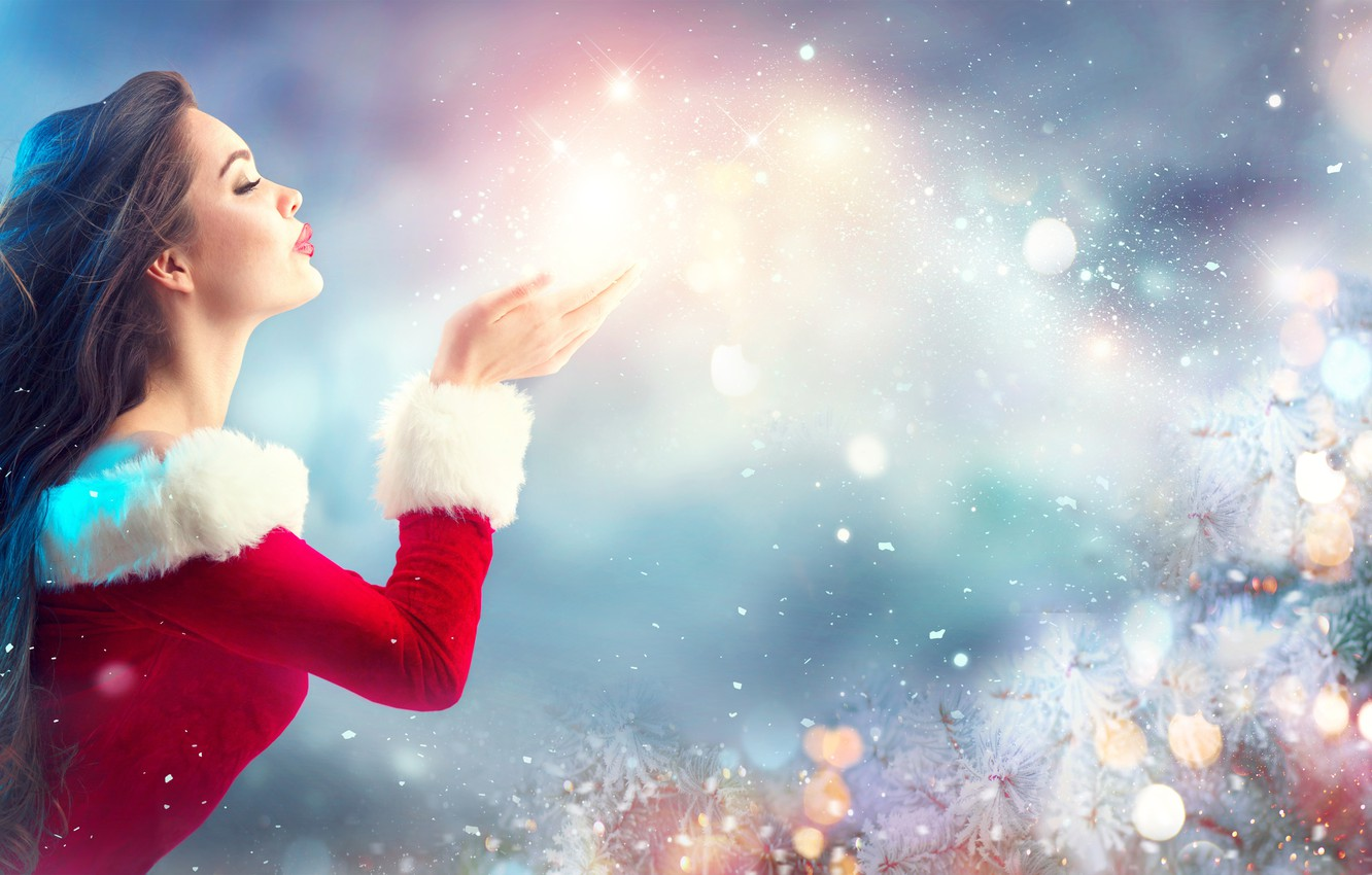 Wallpaper look, smile, mood, woman, Christmas, maiden, beautiful, Happy New  Year, Christmas, style, bokeh, Eva, wallpaper., beautiful background,  festive light, romantic delicate images for desktop, section новый год -  download