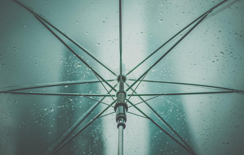Photo wallpaper drops, rain, umbrella