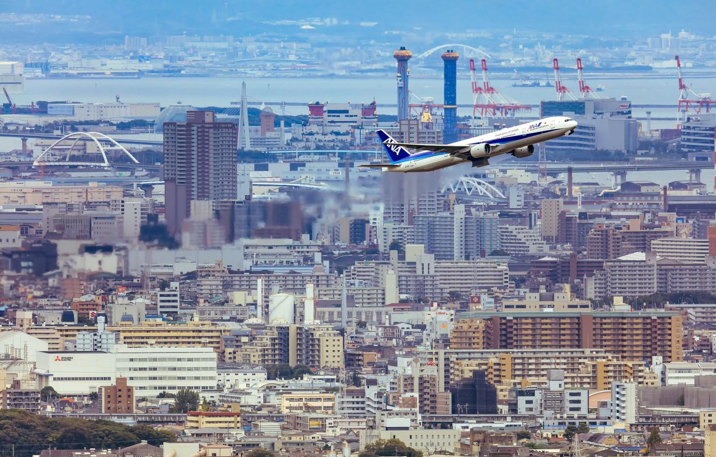 Photo wallpaper the city, the plane, the rise, passenger