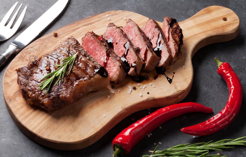 Photo wallpaper pepper, ketchup, salt, steak