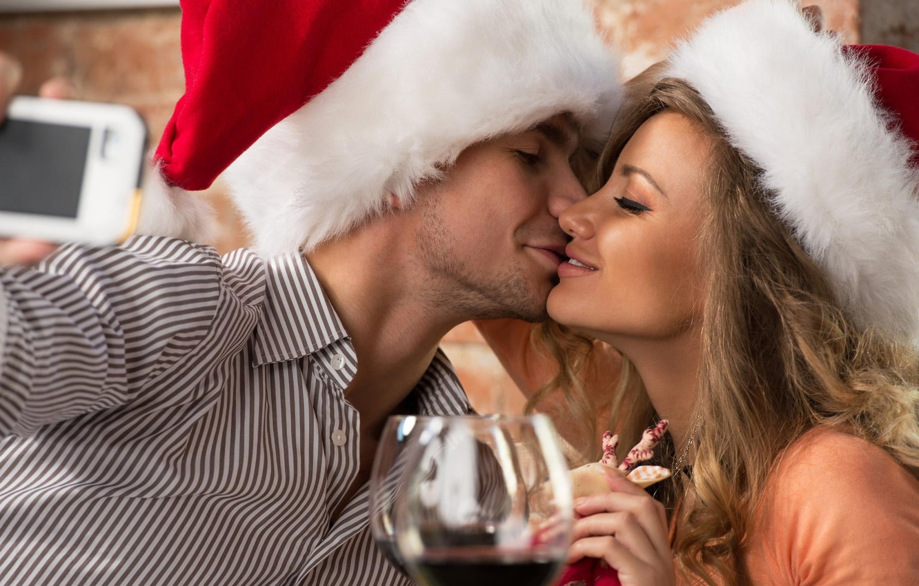 Photo wallpaper girl, holiday, new year, Christmas, glasses, pair, male, cap