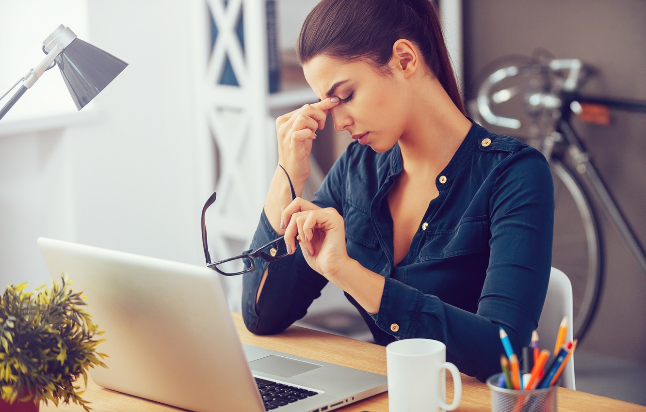Wallpaper woman, fatigue, office worker images for desktop, section ситуации - download