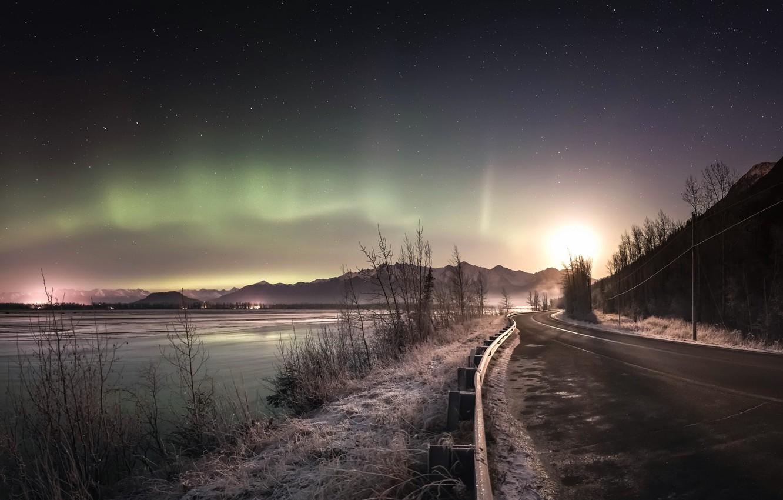 Photo wallpaper road, night, lights