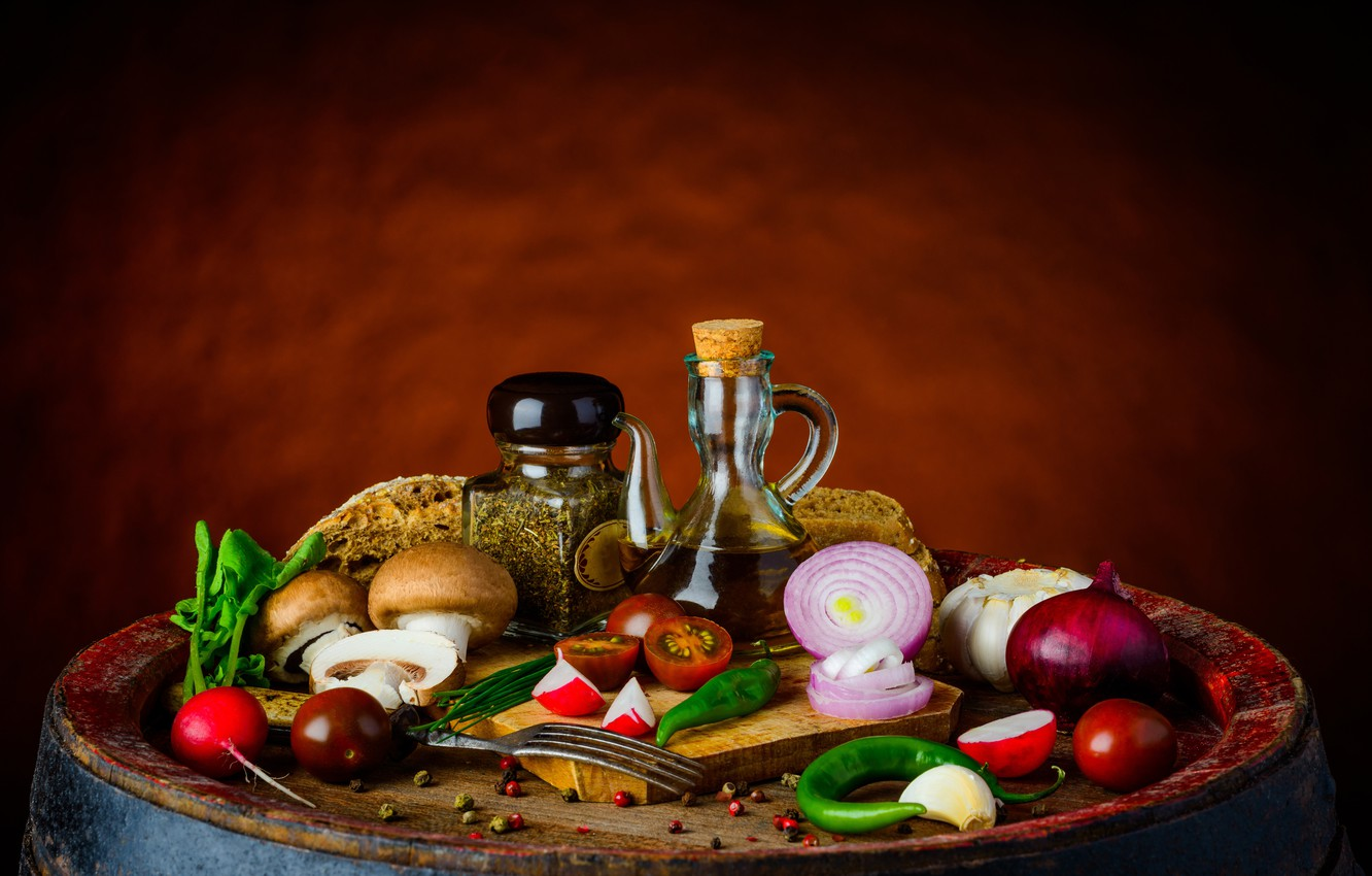 Photo wallpaper mushrooms, vegetables, spices