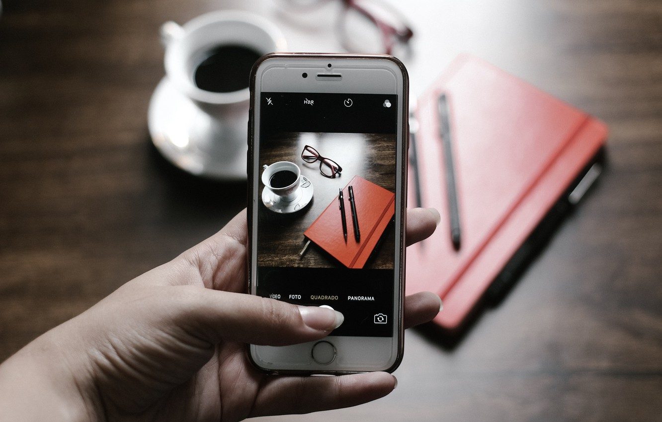 Photo wallpaper photo, coffee, hand, camera, Cup, phone, handle, iphone, screen, the, diary, iPhone
