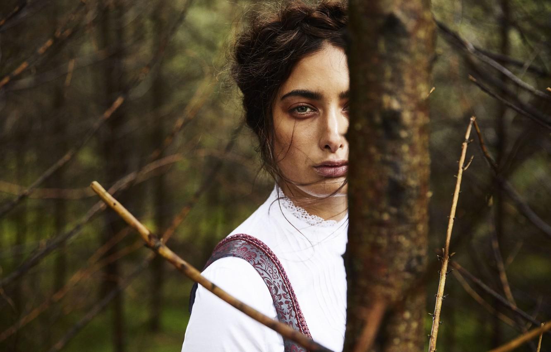 Photo wallpaper green eyes, model, black hair, Samira Mahboub