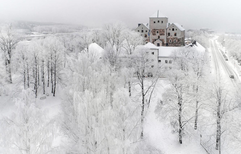 Photo wallpaper winter, snow, the city, turku