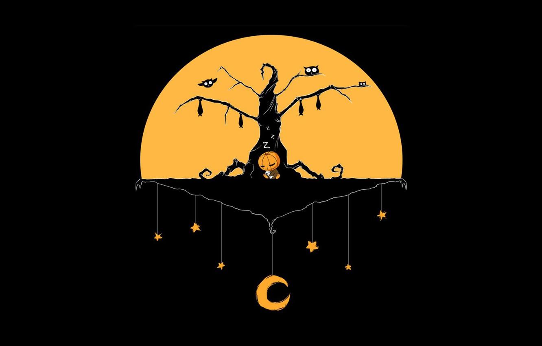 Photo wallpaper Halloween, moon, minimalism, stars, tree, baby, holiday, digital art, teddy bear, artwork, pumpkin, bats, black …