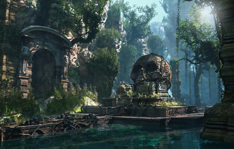 Photo wallpaper mountains, skull, temple, pond, Lost Civilization