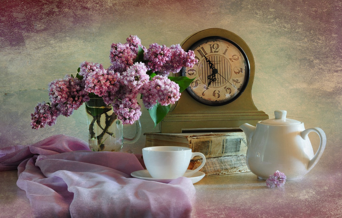 Photo wallpaper watch, Cup, book, still life, lilac
