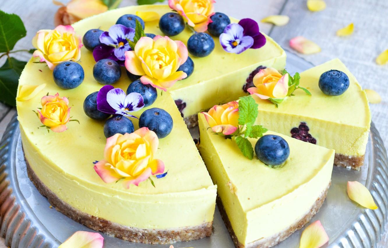 Photo wallpaper roses, cake, blueberries, cheesecake