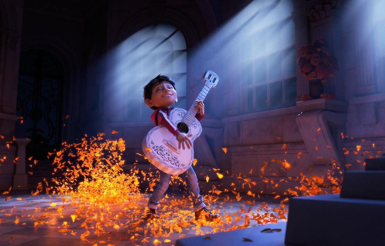 Photo wallpaper cinema, guitar, Pixar, flower, boy, movie, Coco, film, animated film, hana, animated movie, Gael García …
