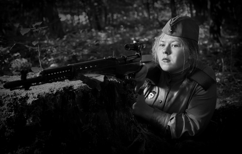 "Photo wallpaper girl, photo, war, black and white, optics, The second world, sniper, WWII, SVT-40, Guard, ""Light"""