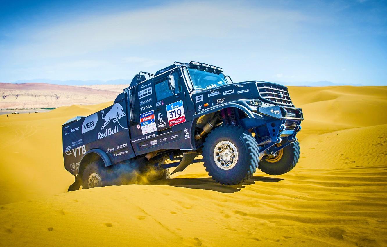 Photo wallpaper Sand, Auto, Black, Machine, Truck, Kamaz, Rally, Dakar, Dakar, KAMAZ, Kamaz Master, Master, Dune, Kapatnik