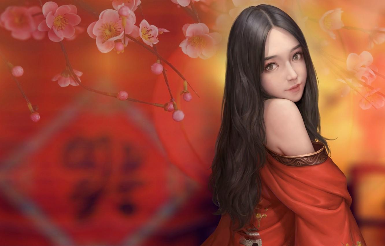 Photo wallpaper girl, spring, Sakura, art, Maou Renjishi