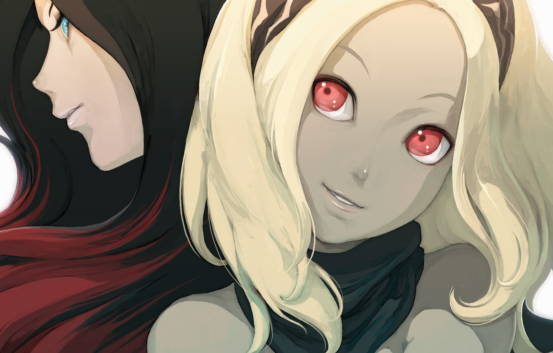 Photo wallpaper eyes, look, yellow, red, black, friend, Kat, Raven, gravity rush