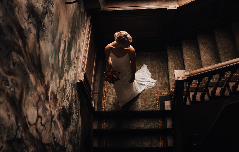 Photo wallpaper flowers, bouquet, blonde, ladder, the bride, white dress, wedding