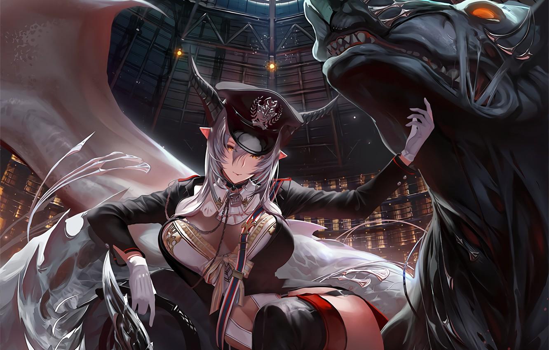 Photo wallpaper demon, girl, horns, hat, anime, beast, anime girl, pointed ears, Shingeki no Bahamut, thigh-highs, Beast …