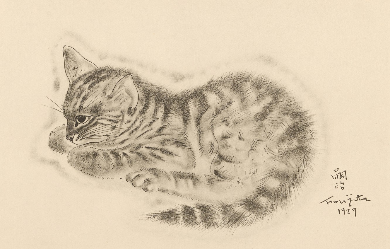 Photo wallpaper eyes, kitty, thought, 1929, Tsuguharu Foujita, The Book Of Cats