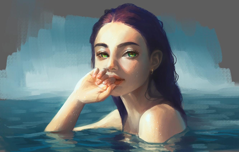 Photo wallpaper look, water, girl, art, green eyes