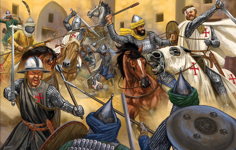 Photo wallpaper sword, blood, armor, cross, ken, blade, paladin, horse, knight, pearls, spear, sacred warrior, crusades, saracens, …