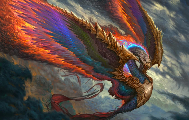 Wallpaper fire, bird, wings, feathers, beak, fantasy, art, Fenix images for  desktop, section фантастика - download