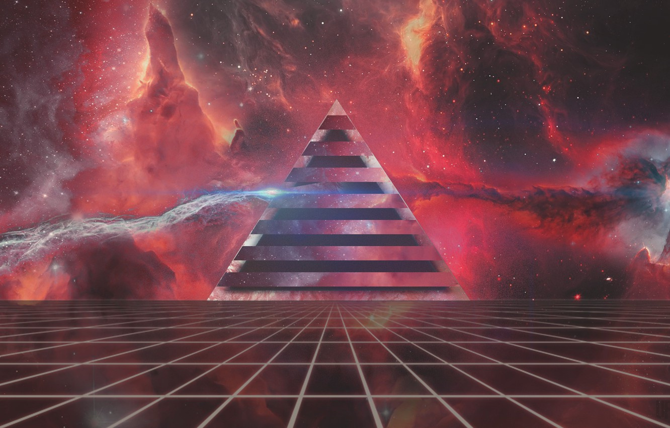 Wallpaper Music Neon Space Pyramid Background Triangle Pink