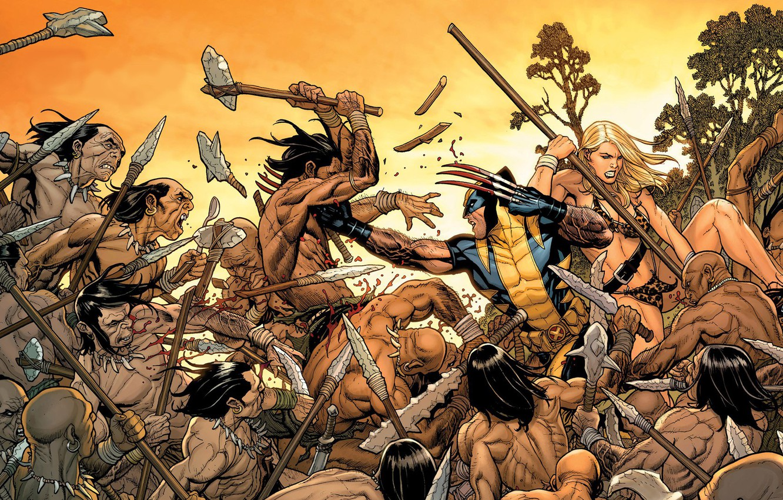 Photo wallpaper Blonde, Heroes, Costume, Fight, Weapons, Battle, Mask, Wolverine, Logan, Comic, Heroes, Claws, Superheroes, Wolverine, Logan, …