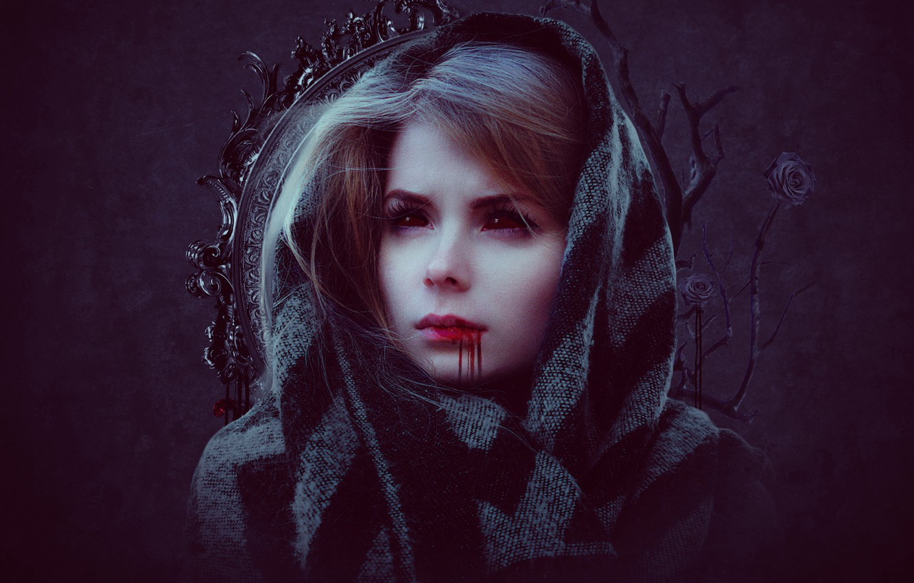 Photo wallpaper girl, roses, blood on the lips, Gothic elements